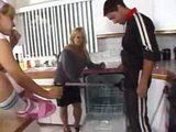 Blonde Teen Tease Plumber In Front Of Mom