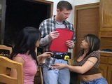 Handyman Gets Cornered By 2 Bored Milf Housewives