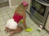 Naughty Blonde Maid Knows How To Do Houseworking In Front Of Her Boss