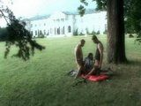 Hot Students Threesome Outdoor In The College Backyard