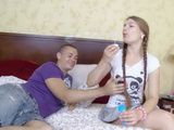 Petite Teen With Pigtail Falls On Her School Friend Charms