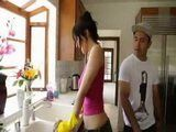 Busty MILF Cheat On Her Husband With Mexican Delivery Guy On a Kitchen Island