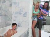 Teen Couple Sneaked on Sexy Mature Milf Masturbation In The Bathtub