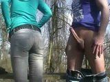 Amateur Blonde Gets Anal Quickie In a Park on a Bench