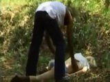 Black Guy Found Fucked Busty MILF Blonde In The Woods And Got Rewarded Well For Help