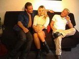 Sweet Blonde Girl Will Do Anything What These Two Perverts Say