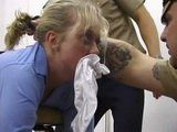 Arrested Blonde Woman Roughly Punished By Cruel Policemen