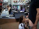 Fucking a Sexy Latina Stewardess In Crowded Pawnshop