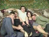 Russian Classmatess Home Movie Theater End Up With Mass Fucking