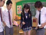 Three Dirty Classmates Convince New Schoolmate To Fuck in Classroom