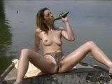 Masturbating At The Boat And Putting Cucumber In Her Wet Pussy