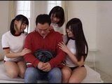 Too Shy Asian Guy Relax With Three Hotties
