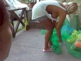 Big Titted Milf Busted Neighbor Taking Out Her Worn Panties From Garbage
