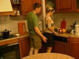 Russian Mom Attacked and Fucked In Kitchen by Daughters Boyfriend