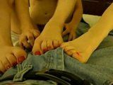 Amateur Teen Sluts Give Boy Footjob Before Great Homemade Fuck