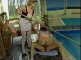 Nympho Maid Cleaning The House While Swinger Employer Couple Fucking