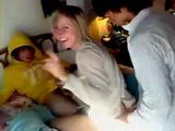 Amateur French College Teen Taped Fucking Some Guys In Bedroom at Party