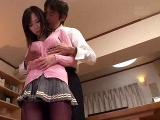 Busty Japanese Schoolgirl Gets Hard Fucked By Her Dads Sneaky Friend