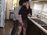Busty Japanese Mom Groped In Kitchen By Her Stepson