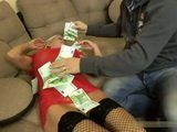 Busty Blonde Whore Will Give Her Ass For All This Money
