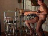 Amateur Milf Wife Gets Anal Fucked Hard On a Stool For a Creampie