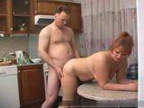 Mature Russian Couple Fucks On Kitchen Table