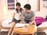 Young Stepmother Maki Hojo Broke Studying Concentration Of Her Stepson With CFNM Blowjob