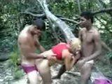 Slut Fucks 2 Guys In The Forest