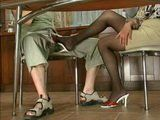 While Boy Tasting Coffee Mom Grope His Dick Under The Table